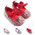 2016 Fashion Bow-knot Newborn Girls Princess Baby Shoes Crystal Bling Baby Moccasins First Walkers Infant Dress Shoes Footwear