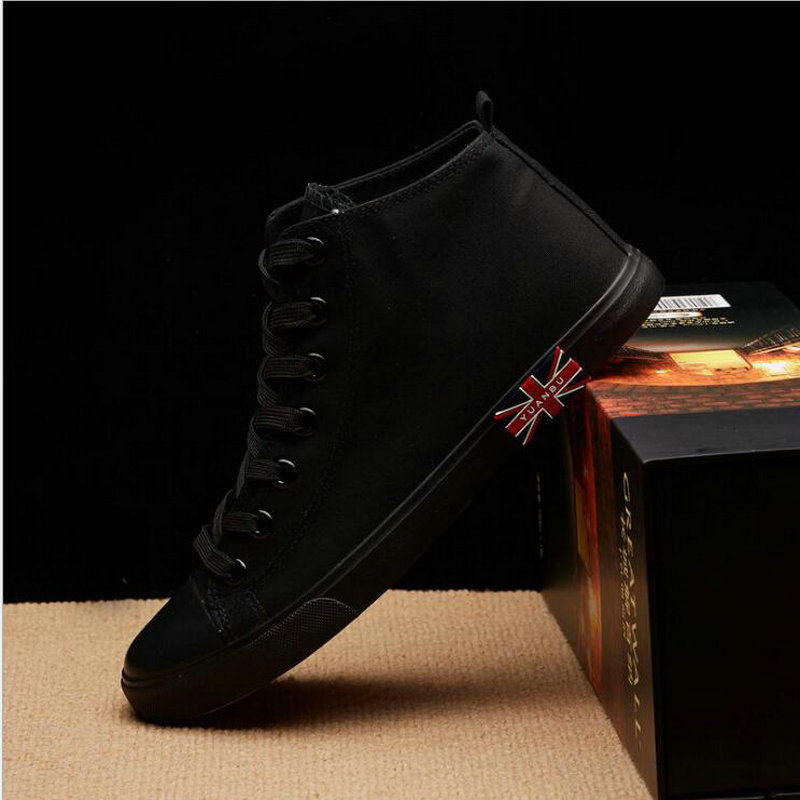 цена на High Quality Sneakers All Black white Fashion High top Men's Casual Flats Shoes Breathable Male Lace up Canvas Shoes NN-18