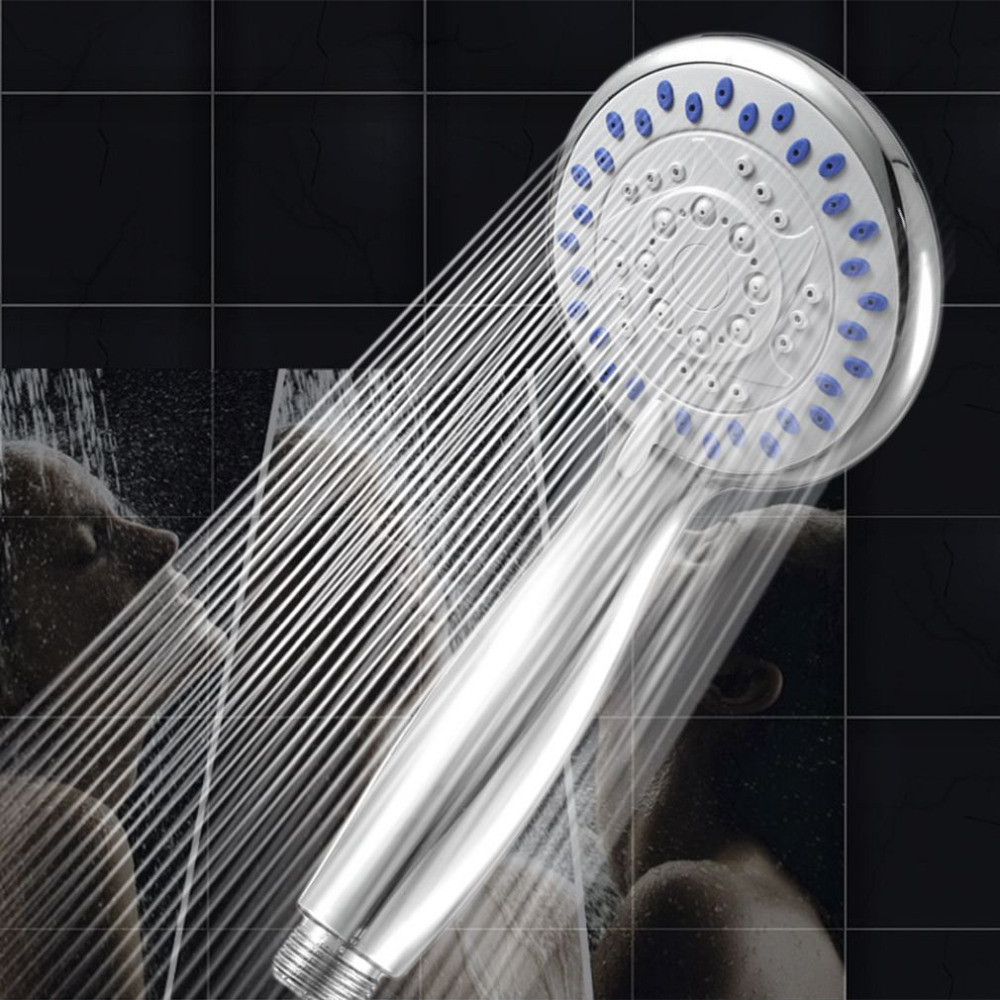 1pc Silver Color Chrome Shower Head 3 Mode Function Spray Anti-limescale  Handheld Home Bathroom Water Saving Accessory