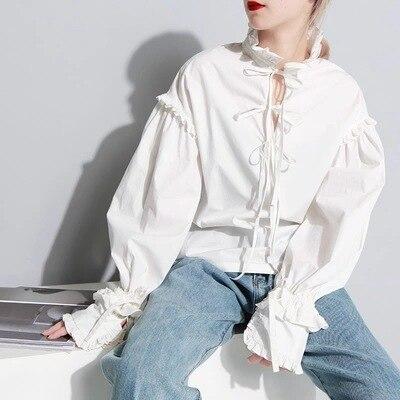 Vintage femmes à manches longues chemise blanc coton dentelle arc col montant lâche Blouse doux hauts C40