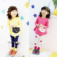 2018 Baby Girl Clothing Set 2 3 5 7 8 Year Cartoon Cat Girl Outfit Long Sleeve Children Clothes Suit Cotton Spring Kid Suit цены