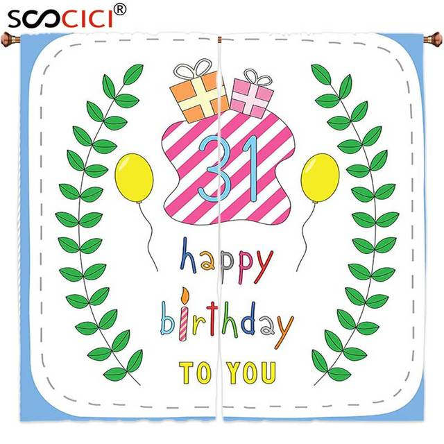 Window Curtains Treatments 2 Panels31st Birthday Decorations Natural Concept Celebratory Pastel Cartoon Like Leaves Presents