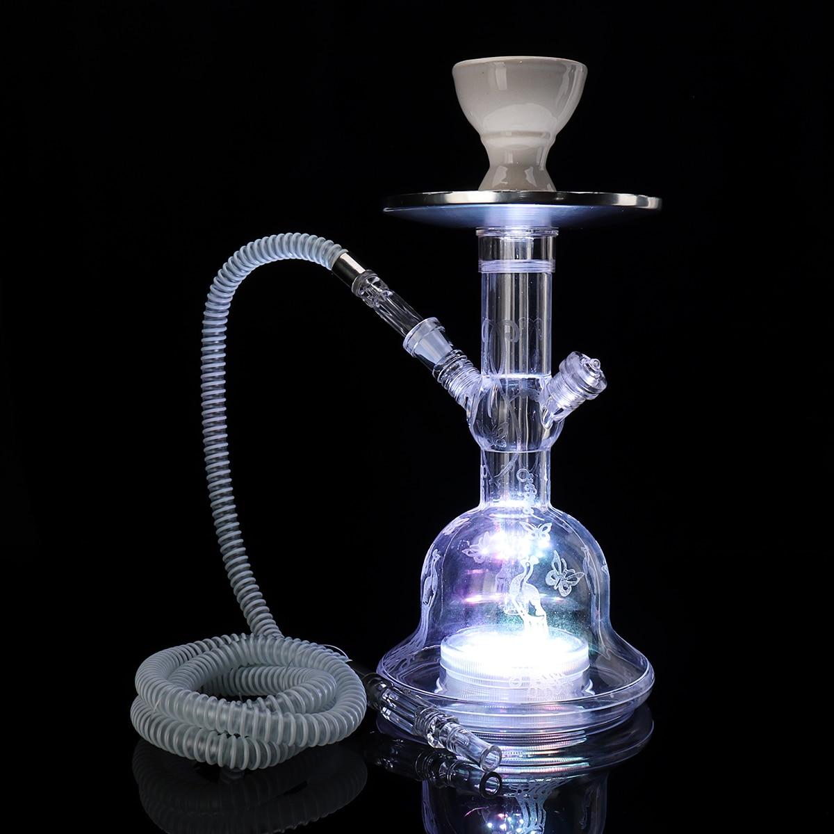 Acrylic LED Light Shisha Pipe Set Narguile Hookah With Chicha Plastic Hose Ceramic Tobacco Flavors Bowl Charcoal Tongs