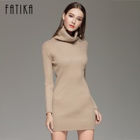 FATIKA 2017 Turtleneck Long Knitted Sweater Dress Women Cotton Slim Bodycon Dress Pullover Female Autumn Winter