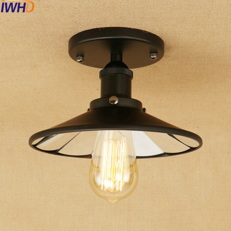 Loft Industrial Vintage LED Ceiling Lights Lustre Lens Retro Ceiling Lamp Fixtures Home Lighting Stairs Luminarias Para Teto