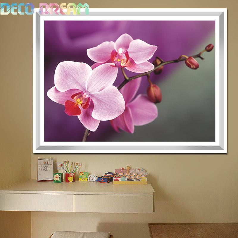 Diy Full Round Resin Diamond Painting Embroidery Rhinestones Kit Beautiful Moth Orchid Flower Mosaic Decor As A Good Hobby Gift in Diamond Painting Cross Stitch from Home Garden