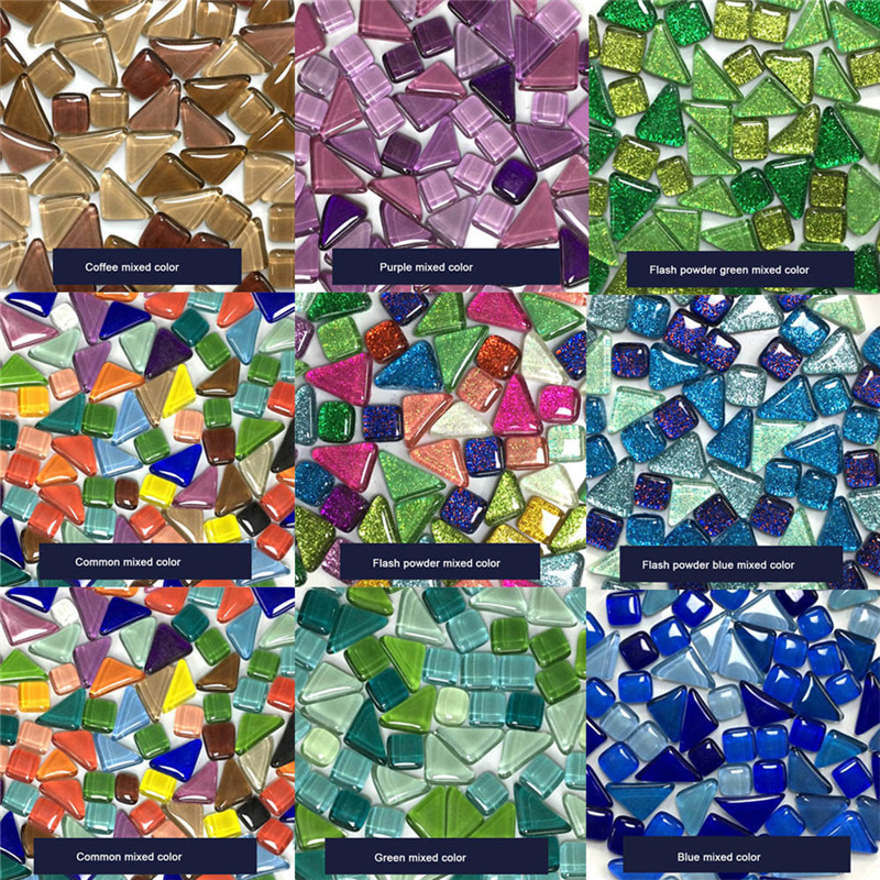 1kg Mixed Color Children Crystal Stone Glass DIY Creative Mosaic Handmade Material Collage Grain Mosaic Tiles Early Recognie
