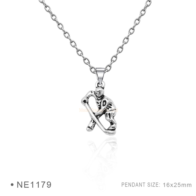 Custom Hockey Ice Pendant Necklaces Antique Silver Line Chain For Women Gifts Statement