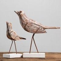 American Style log seabirds Model 2PCS/SET home furnishing articles Crafts Nordic Retro birds Home Decor