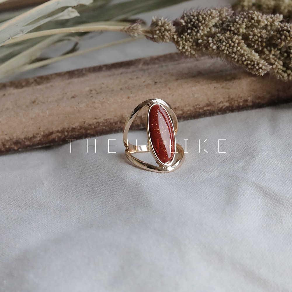 HUANZHI สีแดงคริสตัลเรขาคณิตแหวนโลหะทองชุบโลหะผสมแหวนนิ้วมือสำหรับผู้หญิง Party Party เครื่องประดับอินเทรนด์ของขวัญ