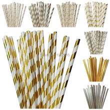 New 25pcs/lot Foil Gold/Silver Paper Drinking Straws For Wedding Party Birthday Decoration Supplies Baby Shower