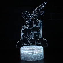 3D Prince Fox Rose Illusion Night Lamp Light 7 Colors Change LED USB Table Desk Novelty Lighting Holiday Christmas Gifts Lights hot cartoon figure frozen table lamp 7 colors changing desk lamp 3d lamp novelty led night lights led light girl baby gifts