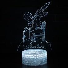 цена 3D Prince Fox Rose Illusion Night Lamp Light 7 Colors Change LED USB Table Desk Novelty Lighting Holiday Christmas Gifts Lights онлайн в 2017 году