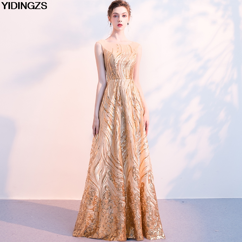 YIDINGZS Luxury Gold Sequins   Evening     Dresses   Elegant Long Party Formal   Dresses