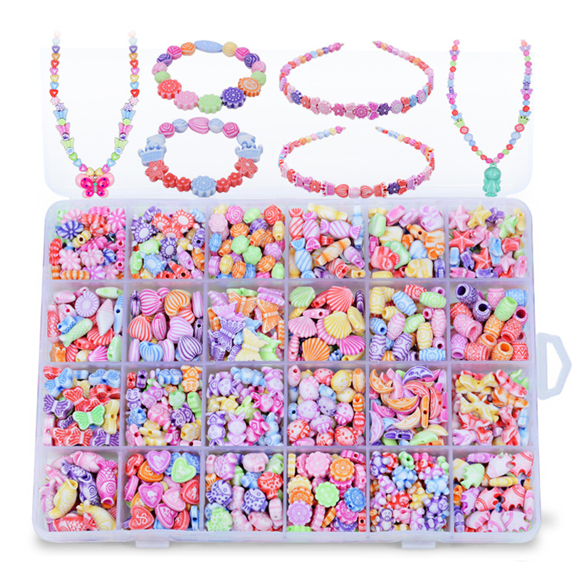 Abbyfrank 24 Grid Boxed Children Diy Beaded Braid Early Education Colored Handmade Necklaces Bracelet Beads Teaching Puzzle Toys