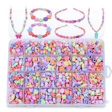 Abbyfrank 24 Grid Boxed Children DIY Beaded Braid Early Education Colored Handmade Necklaces Bracelet Beads Teaching Puzzle Toys(China)