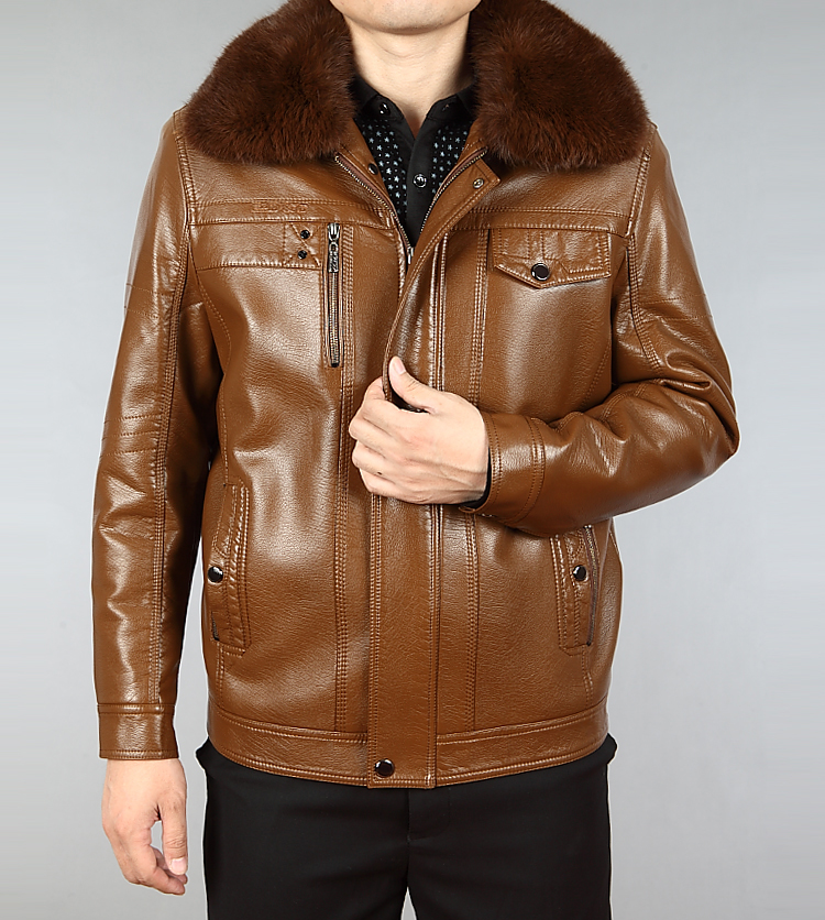 Hot Sale Winter Thick Leather Garment Casual Flocking Leather Jacket Mens Clothing Leather Jacket Men