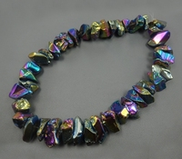 15.5inch/strand Big Crystal Pillar Finish Rainbow Crystal Point Pendants Wholesale Mystic Titanium Necklace Crafts Supplier