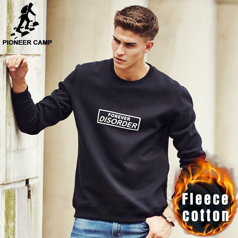 Pioneer Camp brand-clothing printed hoodies men quality male autumn winter fleece warm sweatshirts fashion casual hoodies 677080