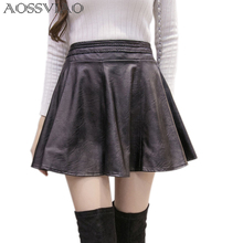 купить 2019 Spring Summer Women Fashion Korean Sexy Pleated Skirt High Waist Black PU Leather Skirts Vintage Short Mini Skirt Plus Size онлайн