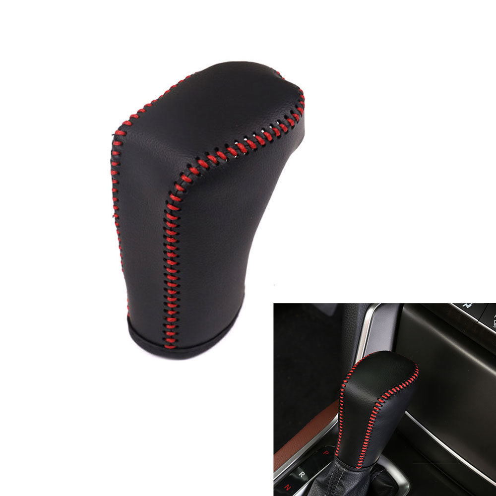 For Honda Accord 2018 PU Leather Black Brown Gear Shift Lever Knob Cover Trim