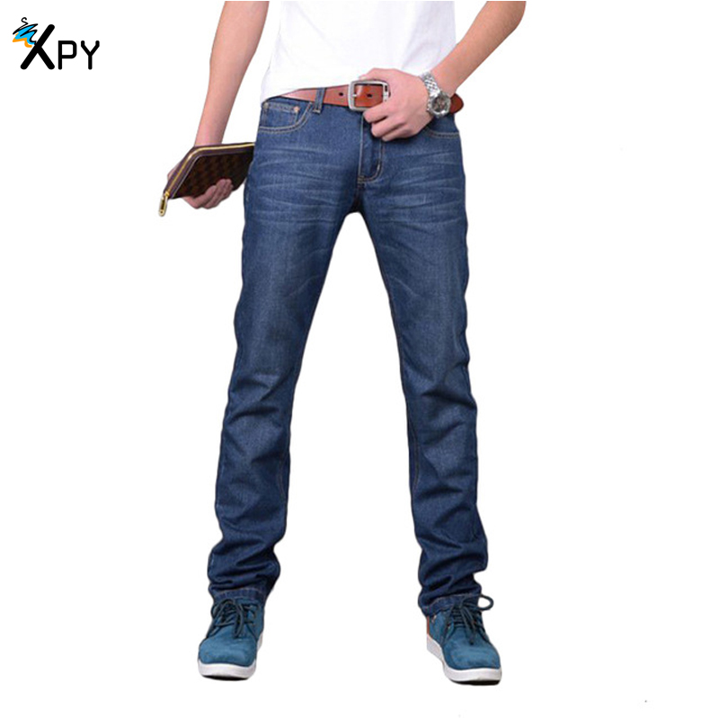 Brand Men Jeans Korean Straight Slim Casual Jeans New Apring And Autumn Solid Color Jeans Large Size Male Jeans