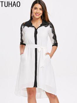08c8106d46 TUHAO Otoño de 2018 blanco vestido de gran tamaño negro elegante de encaje  dama de oficina