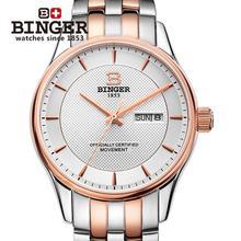Schweiz männer Armbanduhren luxusmarke uhren BINGER leucht Automatische selbst wind voller edelstahl Wasserdichte B5008-3