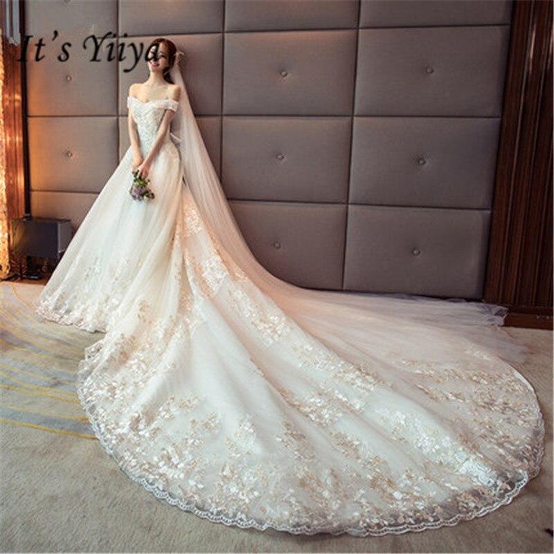 Il YiiYa de Mode Bateau Cou De Mariage Robes Sexy Dentelle Pepal Train Robe Robes De Novia Casamento DV047