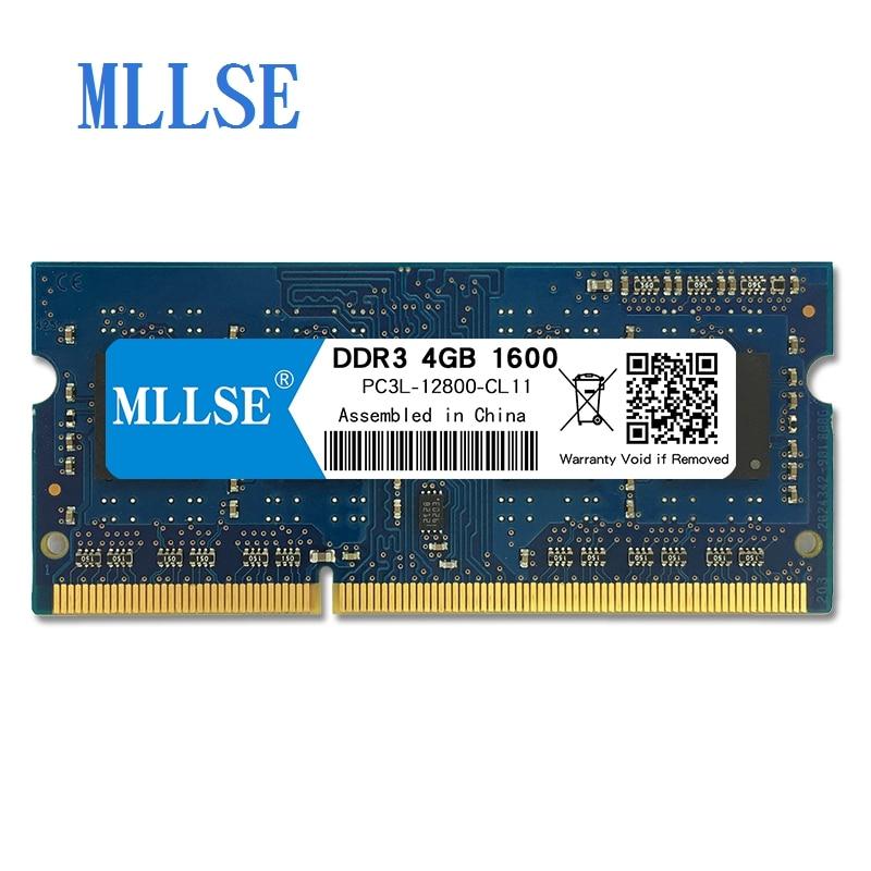 Mllse Laptop Sodimm Ram DDR3L 4 GB 1600 V 1.35 mhz 204pin PC3L-12800S não-ECC de memória Para notebook Notebook RAM memoria