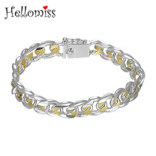 10 mm Gold/Silver Color Bracelets for Men Women Silver 925 Jewelry Korean Bracelet & Bangle Link Chain Wristband Pulseira Unisex mens love knot bangle stainless steel antique silver color knot twisted cuff bracelet unisex men jewelry pulseira braslet