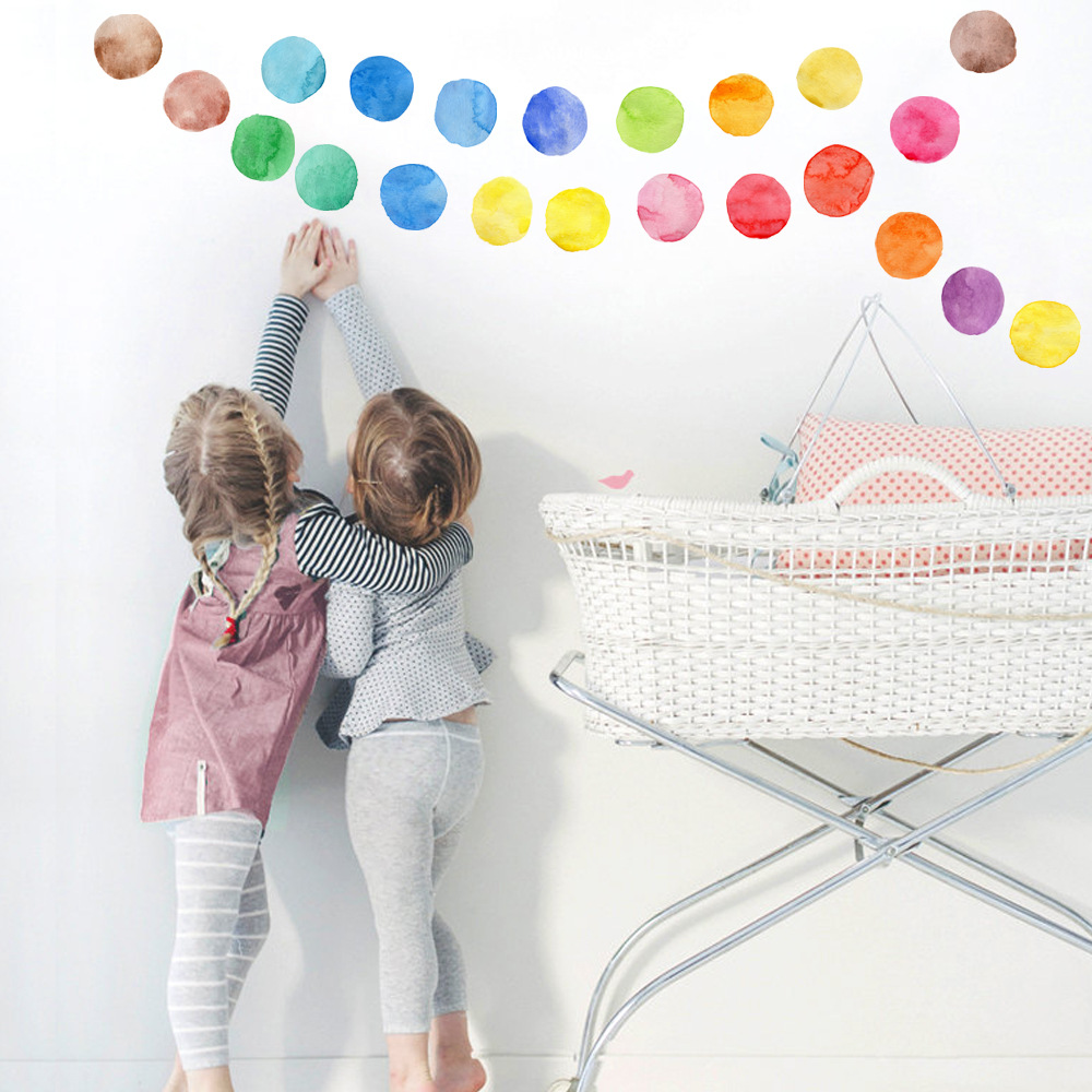 Creative Mini Polka Colorful Dots Wall Sticker Nursery Kids Rooms Children Wall Decals Refrigerator Wall Decoration Home Decor