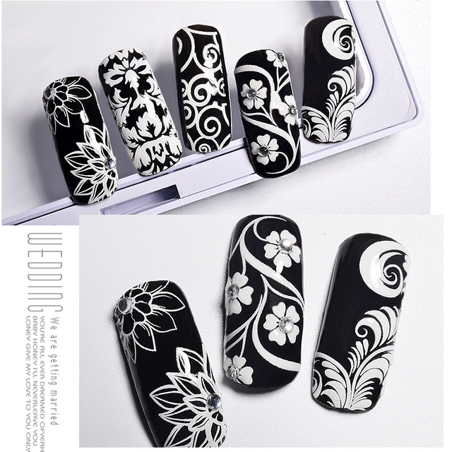 Nu-TATY White pattern cutout Strap 3D nail applique white nail sticker Tools 24 styles