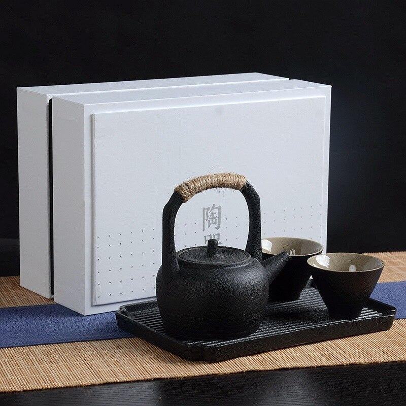 Chinese Style Exquisite Tea Set China Kung Fu Tea Set For Puer Tea Travel Black Ceramic Tea Set One Teapot Two Cups Teaware Sets