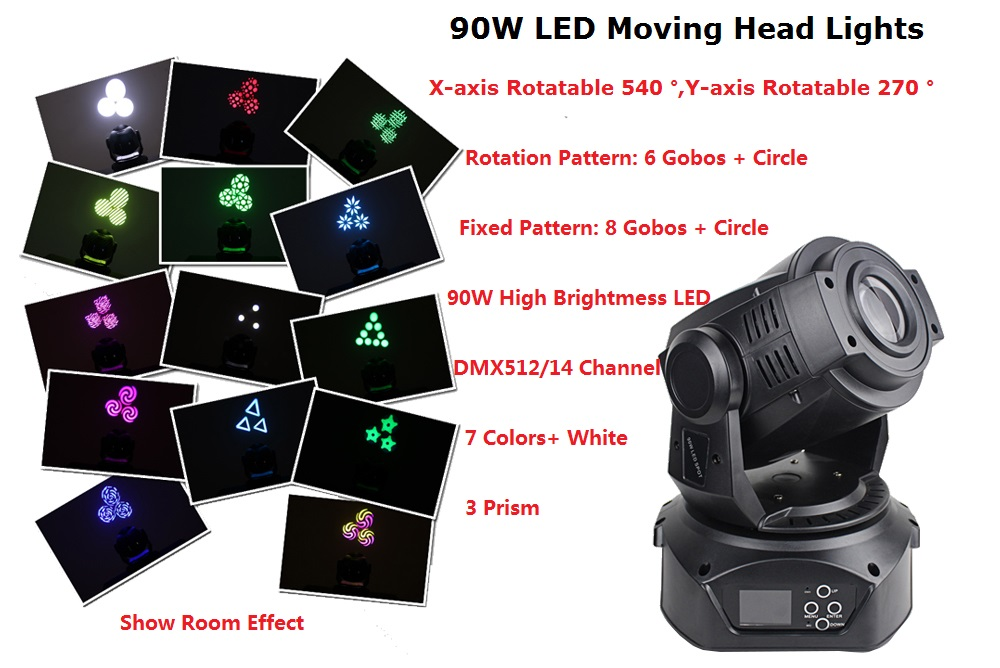 1 Pack LED Spot Moving Head 90W LED Stage Light DJ Lighting For Home Garden Party Christmas Wedding Stage Effect Lights factory directly sale led 30w moving head spot light dmx512 gobo stage disco dj lighting club party christmas holiday led light