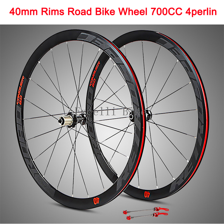 700CC Wheels Road Bicycle V brake 40MM Aluminium alloy Rim 29inch Cross-Country Road Bike Four-Perlin Flat Spokes For8-11Speeds 700cc wheels disc brake wheels road bicycle v c brake 30mm alloy rim 29inch cross country road bike silver frame light wheel