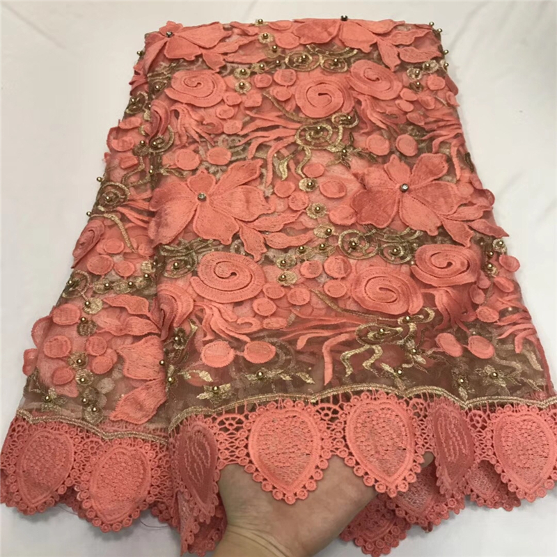 VILLIEA Nigerian Tulle Lace Fabrics 2018 Orange African Lace Fabric High Quality French Mesh Lace Fabric