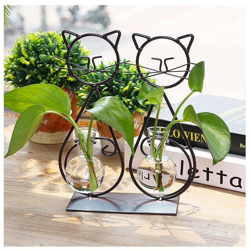Creative Metal Iron Cat Hydroponic Plant Vase Ornaments Glass Flower Vase Miniature Desktop Crafts Household Decoration Gifts