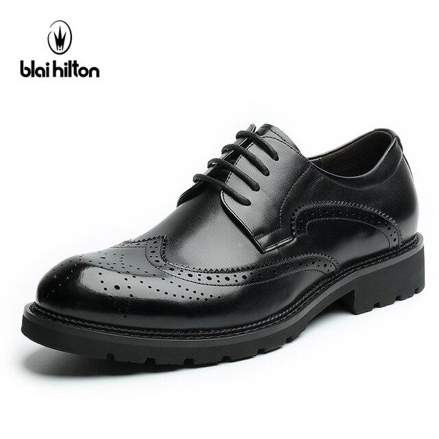 Blaibilton 100% Пояса из натуральной кожи броги Бизнес торжественное платье Мужская обувь классические офисные Свадебные мужские туфли Повседневное Оксфорд итальянский