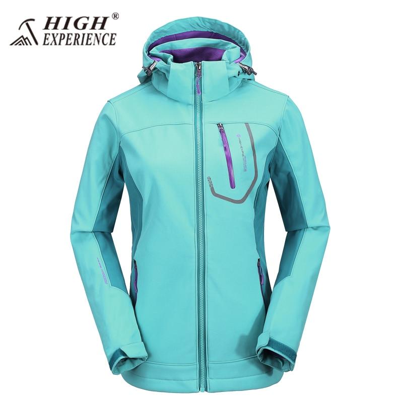 New High Experience Softshell Hooded Womens Jacket Hiking Jacket Waterproof Outdoor Sportwear Windproof парка high experience это