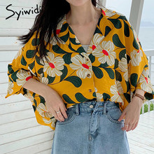 Floral Blouse Tunic Yellow Blue Chiffon Women's Blouses Batwing Sleeve Plus Size Women Korean Casual Tops Short Sleeves Blouses(China)