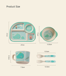 Image 4 - 5pcs/set Bamboo Fiber Children Tableware Set Baby Feeding Plates Dishes Bowl With Cup Fork Spoon Cartoon Animal Kids Dinnerware
