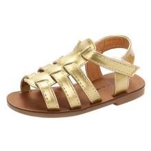 Gold Casual Sandals Summer Toddler Kids Baby Girls Sandals Beach Cute  Sandals Princess Roman Shoes Drop 805dc0e25eb3