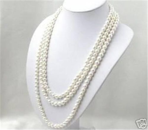 Free shipping >>>>>SUPER LONG 80 INCHES 7 8MM WHITE AKOYA CULTURED PEARL NECKLACE