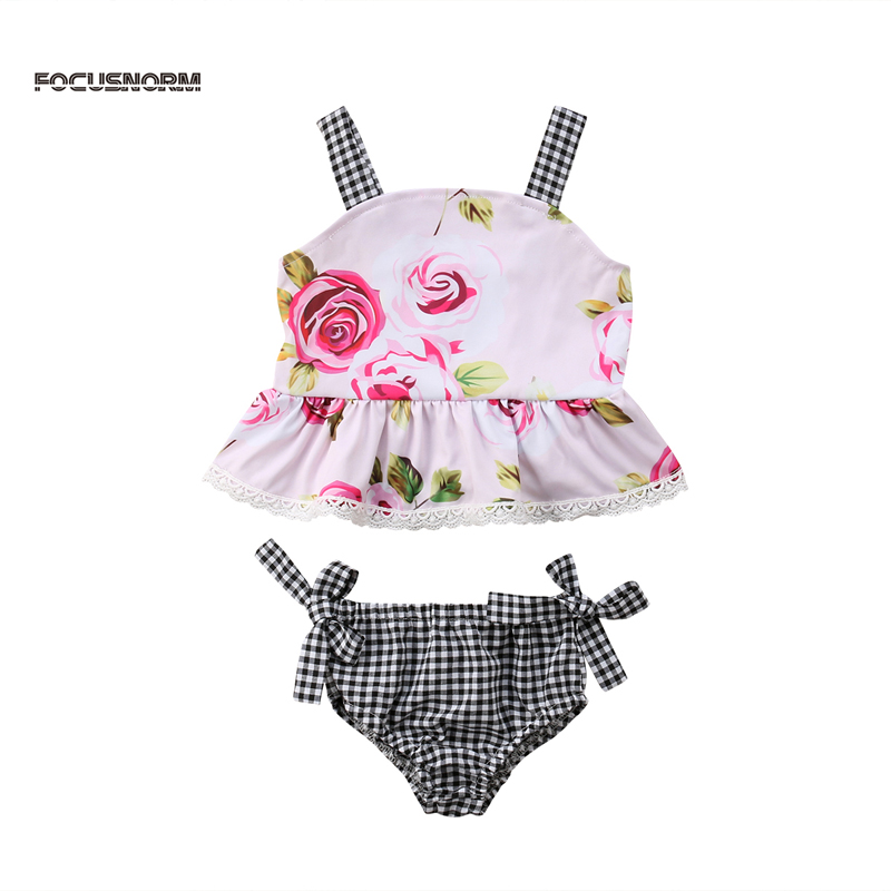 FOCUSNORM New Fashion Toddler Kids Baby Girl Floral Outfits Clothes T-shirt Tops+Pants/Shorts 2PCS Set