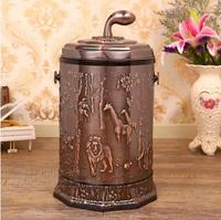 European Luxury copper10L open with hand metal waste bin with plastic bucket trash bag holder forcleaning storage LJT022