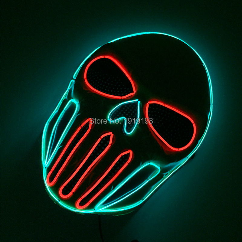 New EL mask Lights on by DC-3V transparent blue combined red for Theme Party and Prom Party Cold light mask Holiday lighting