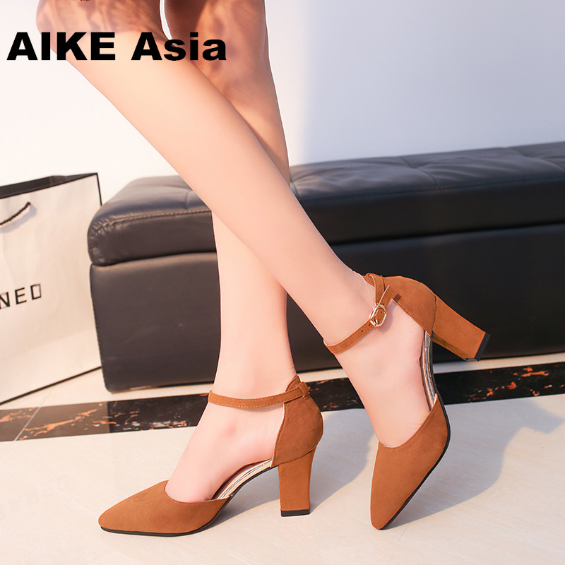 HOT SummerSandalias Femeninas High Heels Flock Pointed Sandals Sexy Female Summer Shoes Mujer  Zapatos Mujer Pumps  2019(China)