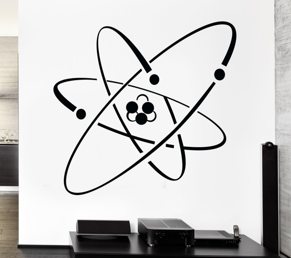 The coloring book of physics - Atom Electron Science Vinyl Wall Stickers Chemistry Nuclear Physics Decor Wall Sticker Adesivo De Parede Muurstickers