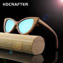 New Arrival HDCRAFTER wood sunglasses women handmade cat eye sun glasses vintage polarized bamboo sun glasses